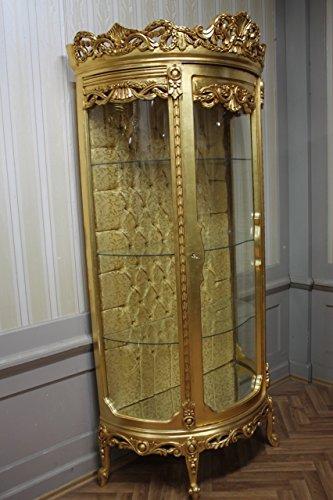 Barock Vitrine Rokoko Antik Stil Schrank Louis XV MKVi0115 gold