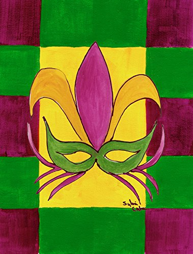 Caroline 's Treasures 8367CHF Mardi Gras Flagge Leinwand Fleur de lis, Maske Large ()