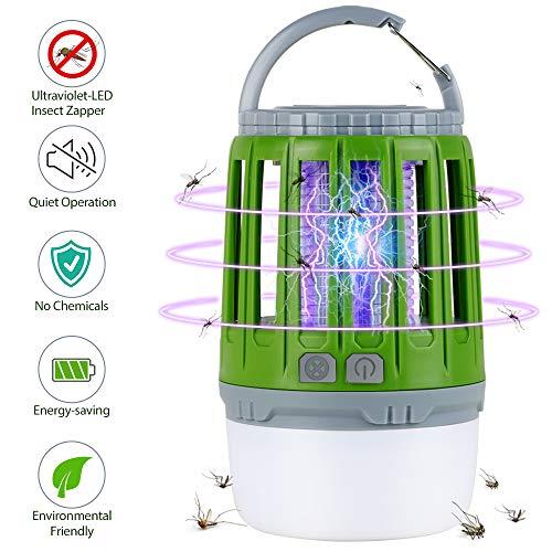 Homecube Insektenvernichter,UV insektenvernichter LED Campinglampe 2-in-1 Elektrisch Mückenfalle Rechargeble USB, Kleine und Tragbare Moskito Killer Lampe Laterne für Innen und Außen-Grün(Pinsel frei)