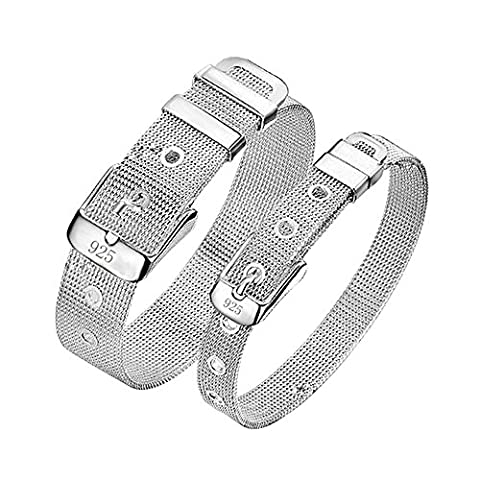 Kangqifen Jewelry Womens Bracelet,925 Silver Plated Watch Chain Bangle,Width 0.4 and 0.55 inch - Length 8.6 inch(0.4 inch)