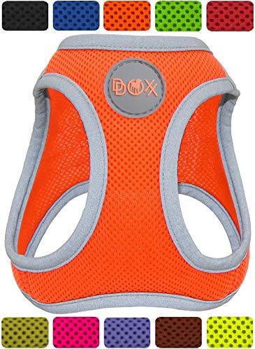 DDOXX Brustgeschirr Step-In Air Mesh reflektierend in vielen Farben & Größen für kleine, mittelgroße & große Hunde | Hundegeschirr klein groß verstellbar | Geschirr Hund Welpen Auto | Orange, XS