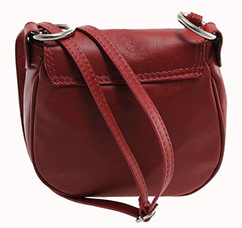 CTM Borsa da Donna Pochette con Tracolla, 19x17x6cm, Vera Pelle 100% Made in Italy Rosso