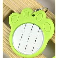Happy-little-bear Etiquetas de identificación de Perro de plástico en Forma de Pata de Color Fluorescente con Cuerda (Verde)