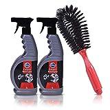 GERCAR 3-teiliges Reinigungsset für Autofelgen, Autoreifen und Radkappen - 2X Felgenreiniger mit je 650 ml und gratis Felgenbürste, Reinigungsmittel mit Bürste für Felgen (2x650ml)