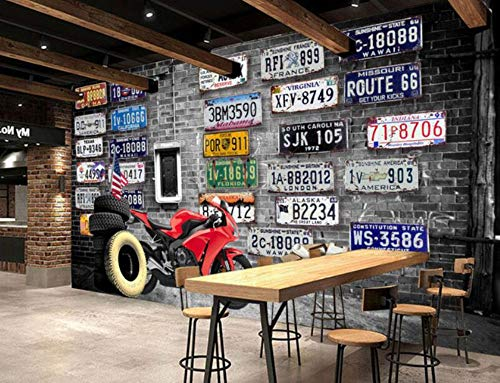 Europe America nostalgic retro brick plates motorcycle tire large mural 3D wallpaper for walls 3d bedroom living room TV stereo,300 * 210cm Stereo-wall Plate