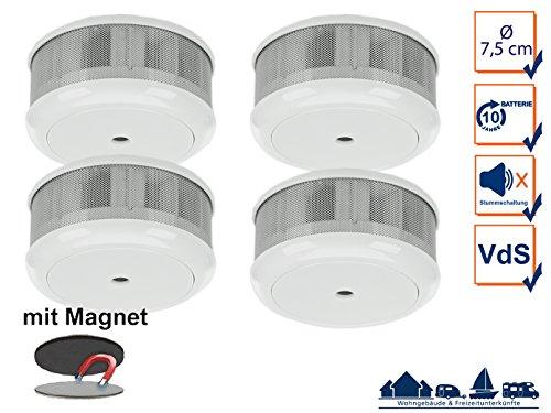 4er-Set Mini 10-Jahres Rauchwarnmelder + Magnet-Set mit VDS & DIN EN14604/ Maße nur 75 x 35 mm
