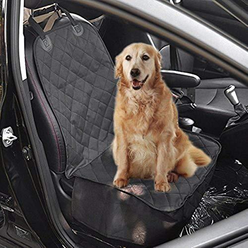 Pettom Autositzbezüge Hund Sitzbezug Hundetransport Vordersitz Nonslip Wasserdicht Verstellbar Autoschutzdecke Hundedecke Sitzbezug schwarz 52cm x 102cm