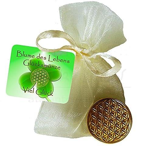 """EnerChrom Blume des Lebens-Glücksmünze als Glücksbringer """"Viel Glück"""" - Farbe: gold, 1 Stück im Säckchen als Geschenk - Lebensblume-Talisman"""