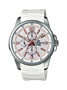Casio EF-343-7AVEF - Reloj analógico de cuarzo para hombre con correa de resina, color blanco de Casio