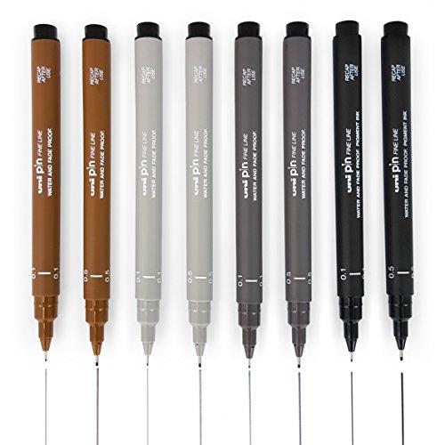 Uni Pin Fineliner Zeichenstifte, zum Skizzieren, 8Stück, 0,1–0,5mm, Schwarz, Dunkelgrau, Hellgrau, Sepia