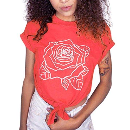 ubabamama Fashion Frauen front-tie Tops, Lady Blumen bedruckt kurze Ärmel Bluse Crop Top Sexy Kleidung Mädchen T Shirt mehrfarbig rose L (Gestreiften Hemd Multi Farbe)