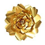 Papier Blumen Vorlagen, AOLVO 40cm Große Handgefertigt Papier Blumen Dekoration für Kinderzimmer-Wand, Hochzeitshintergrund, Geburtstag Party, Geschenkparty (Gold)