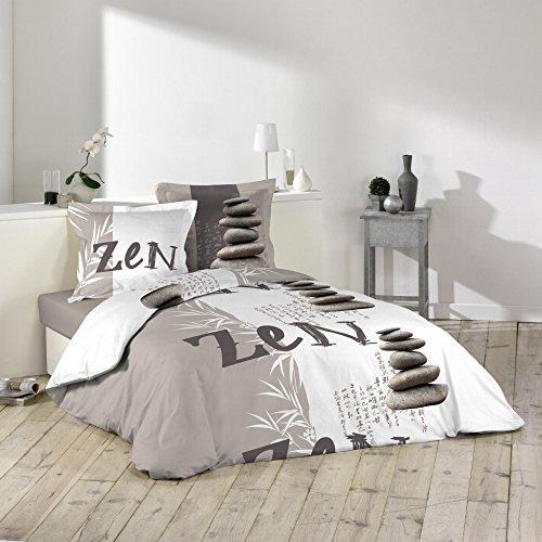 Douceur d'Intérieur GALETS ZEN Parure avec 2 Taies d'oreillers Coton Multicolore 240 x 220 cm