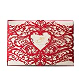 VStoy Laser rosso, biglietti di inviti da matrimonio, fidanzamento a forma di cuore con fiori, biglietti di invito per feste con busta, motivo: with VStoy e Seas-Bridal Shower Baby Shower-Wedding Favors 20 pezzi (rosso)