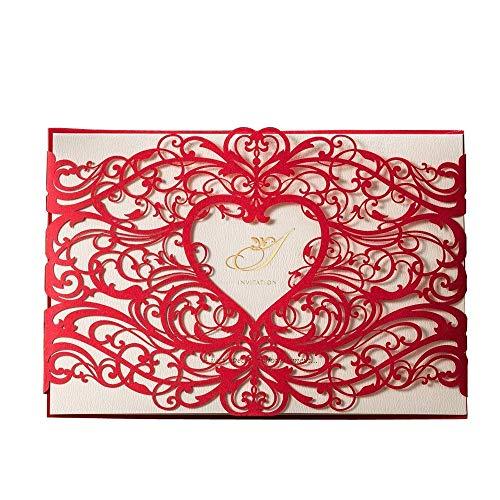 VStoy Lot de 20 cartes d'invitation découpées au laser/décorées de cœur et fleurs creux pour mariage/fête d'anniversaire/fête prénatale avec enveloppes