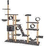 TecTake Katzen Kratzbaum Katzenbaum XXL | 2 Spielseile | 4 Röhren | 2 Treppen | 2 Liegemulden | Deckenhoch (Schwarz mit Tatzen | Nr. 402746)