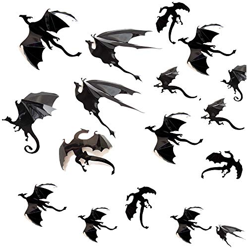 Tuopuda Halloween Wandtattoo 42Pcs 3D Drache Wanddeko Halloween Party Dekoration DIY Home Deko Halloween Wandaufkleber (schwarz) (Coole Diy Halloween-dekorationen)