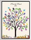 NOVAGO Kundengebundene Fingerabdruckmalerei für Hochzeit, Jahrestag, Geburtstag, Taufe, Kommunion (30 X 40, Baum)
