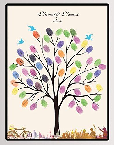 NOVAGO Tableau(toile) à empreintes pour les invités pour les événements comme mariage, anniversaire, baptême, communion... (Deux cartouches colorées offertes) (60x75 cm, Arbre)