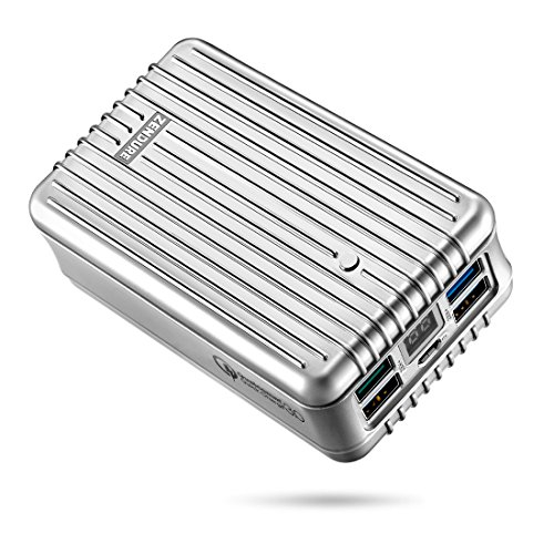 Zendure A8QC 26800mAh Powerbank Externer Akku, Akkupack mit Qualcomm Quick Charge 3.0, kompakter Zusatzakku mit 4-Port und LED Dislay für iPhone, Samsung Galaxy, Huawei und mehr Smartphone -Silber