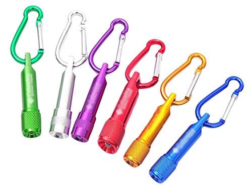 BIGBOBA - Lot de 6 Mini Porte-clés Lumineux LED - Avec Lampe Torche - À pile - Pour les Activités en Plein air - Couleur Aléato