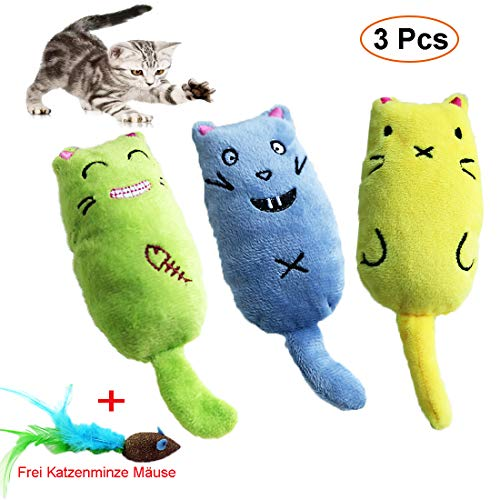 Katzenminze Spielzeug, 3 Stück Haustier Katzenminze Zähne Kauen Spielzeug, Interaktive Katze...