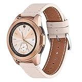 WFEAGL Compatible avec Bracelet Samsung Galaxy Watch 42mm/Gear S2 Classic/Gear Sport/Huawei Watch 2,20mm Supérieur en Cuir à Dégagement Rapide Bracelet(20mm, Blanc Ivoire+Boucle Argent Square)