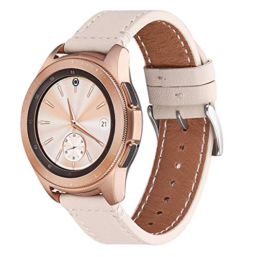 WFEAGL Kompatibel mit Samsung Galaxy Watch 42mm Armband/Gear S2 Classic/Gear Sport/Huawei Watch 2,20mm Top Grain Quick Release Leder Ersatzband(20mm, ElfenbeiWeiße+Silber Quadratische Schnalle)