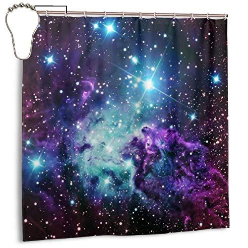 Jacklee Fox Fur Nebula Purple Teal Galaxy Duschvorhang 180 * 180cm Anti-Schimmel und Wasserabweisend Shower Curtain mit 12 Duschvorhangringen 3D Digitaldruck -