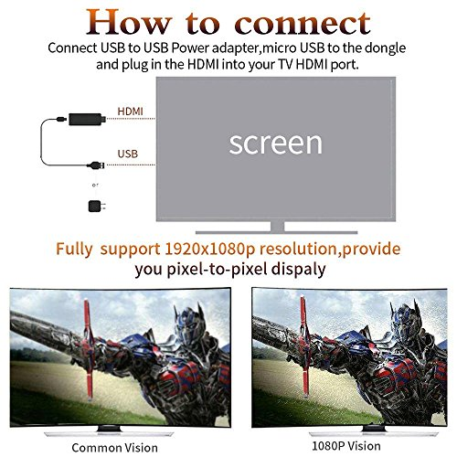 LONSUN Wireless WiFi Display Dongle TV Empfänger Adapter 1080P Full HD Unterstützung Google Chromecast für Miracast Airplay DLNA TV Stick für Android / Mac / IOS / Windows … - 5