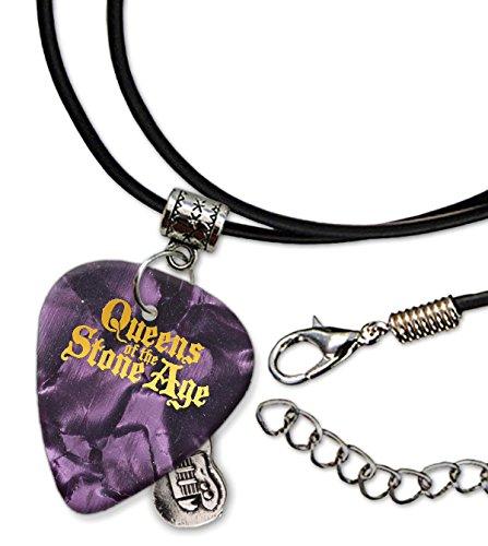 Queens Of The Stone Age Púa de Guitarra Collar de la Cuerda Necklace Purple Pearl ( GHF )