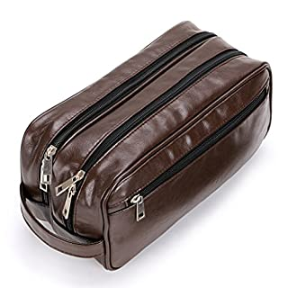 Toiletry Bags, Sumnacon Unisex PU Leather Waterproof Travel Cosmetic Bag Organizer Perfect for Shaving Grooming Dopp Kit & Household Business Vacation with Portable Handle (2 Layer Brown)