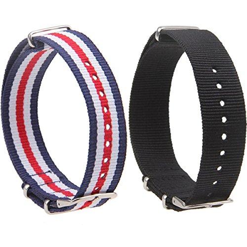 AMEXI 2pc Uhrenarmbänder 20mm Nylon Uhrenarmband Ersatz Armband mit Edelstahl-Schnalle für Uhr, 27 cm lang, Farbe: Schwarz, Blau / Weiß / Rot (Szene Schnalle)