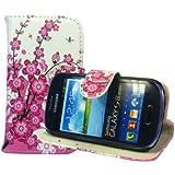 Samsung Galaxy S3 Mini i8190 Buchdesigner Tasche mit trendigen Style Pink Cheery Flower Cover Leder Tasche Flip Case Schutz Hülle Handy Seiten Tasche im Neuem Desgin
