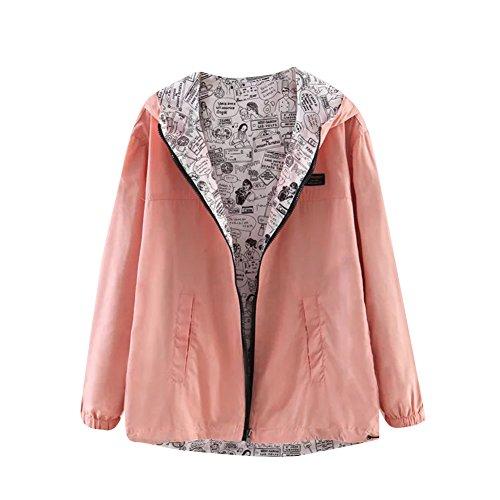 Veste à capuche et Fermeture Éclair pour Femme Usure Sided Coloris uni pink