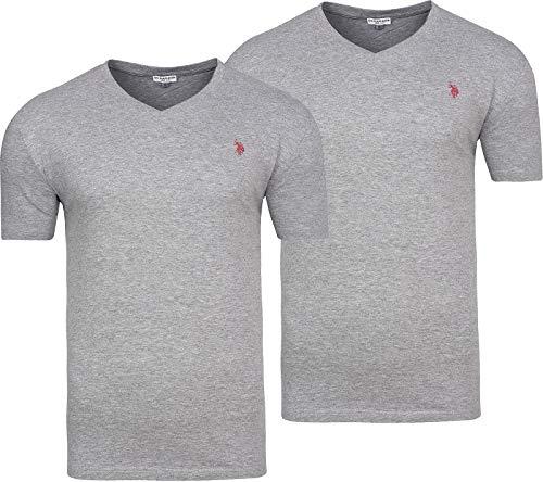 2er Pack U.S. POLO ASSN. Herren T-Shirt Schwarz Shortsleeve (M, Grau)
