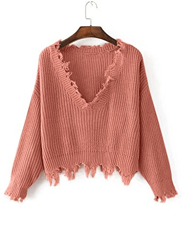 ZAFUL Women's Casual Long Sleeve Loose Knitted Jumper Sweater Pullover Winter Top Outwear(ORANGEPINK)