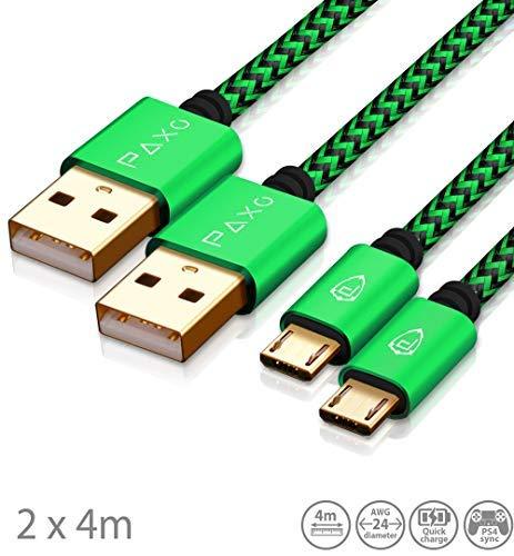 2 x 4m Nylon PS4 Ladekabel für Playstation 4 Controller, Zwei Grün-Schwarze Micro USB Kabel mit Stoffummantelung & Aluminium Steckern