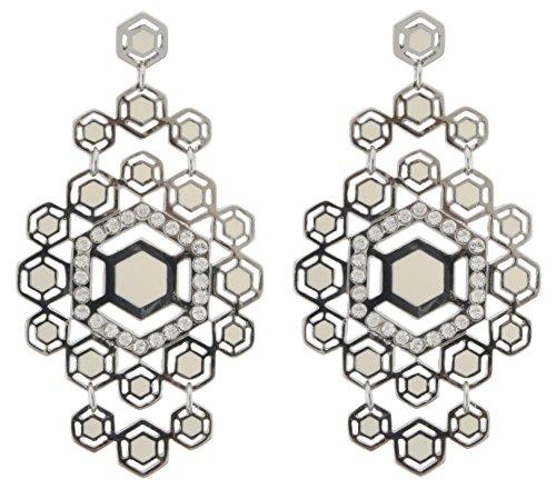 Zest Dekorative Sechskant Panel Drop Ohrringe für gepiercte Ohren Silber & Creme -