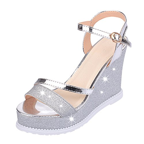 83ba48f9d19c14 LGK FA Summer Women S Sandals Extra High Heel Sandals Metal Buckle Hollow  Women S Shoes 35 Silvery - Buy Online in Oman.