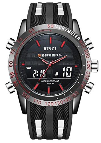 Herren Sport Militär uhr der Männer Digital Quarz Armbanduhr Luxus-Digital-LCD-Bildschirm mit schwarzem Silikon-Band LED-Licht-Doppelalarm-Uhren Multifunktions-analoger...