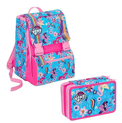 Zaino scuola sdoppiabile big - my little pony estensibile - 28 lt - schoolpack + astuccio scuola seven - my little pony - 3 scomparti + peluche ass. - 2017/2018