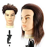 HAIREALM Man Training Heads Hairdressing 100% Real Human Hair Mannequin Styling Dolls Head (Suit for Bleaching and Dyeing) EHG0408W