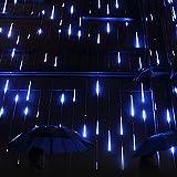 Minger LED Lichterkette Blau 30cm Meteorschauer Röhren 8 Tube 144 LEDs 100V-240V Deko Leuchten LED für Außen Garten Bäume Weihnachten Dekoration EU Stecker (Blau)
