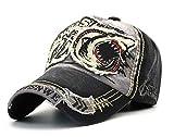 CHENNUO Vintage Distressed Baseball Cap Für Herren Snapback Cap Sport Kappe Trucker Hat (Schwarz)