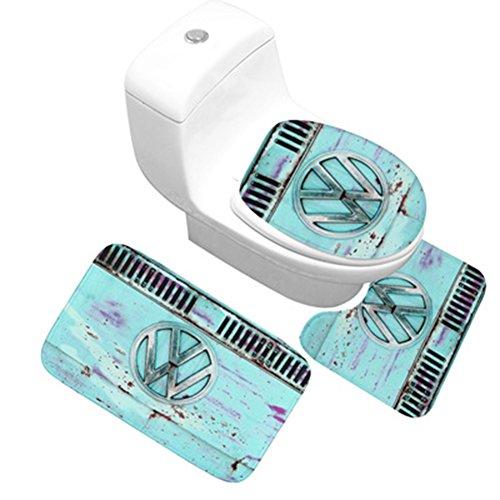 chfester Fußabtreter mit Wasser saugfähig und Anti-Schimmel Flanell Deko-Teppich –, VW-Logo, WC-Teppich für Badezimmer mit mit Stollen ()