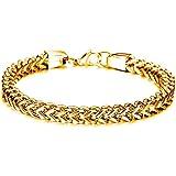 iLove EU Edelstahl Armband Handgelenk Link Gold Königskette Poliert Elegant Motorradfahrer Biker Herren