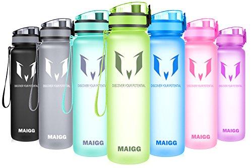 MAIGG Beste Sports Trinkflasche - 500ml & 1000ml - Eco Friendly & BPA-freiem Kunststoff - für das Laufen, Fitness, Yoga, Im Freien und Camping - Schnelle Wasserdurchfluss , Flip Top, öffnet sich mit 1-Click - Wiederverwendbare mit dicht schließendem Deckel (Bambusgelb, 1000ml-32oz) - Bamboo-gürtel
