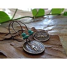 BRONCE moneda de la vendimia de bronce y turquesa de piedra ☆ pendientes de estilo