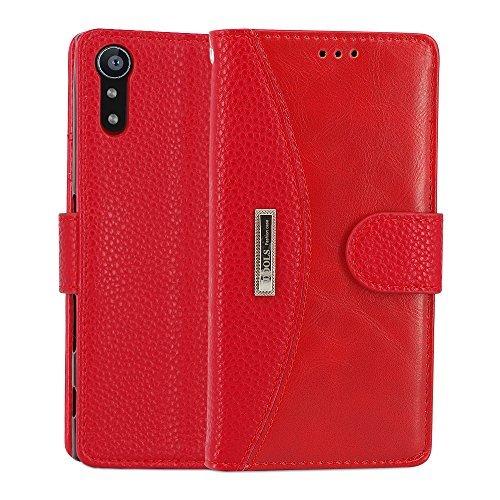 Sony Xperia XZ Hülle, IDOOLS Leder Handyhülle mit Kartensteckplatz, Magnetisch Flip Brieftasche, Handyständer Funktion - Rot